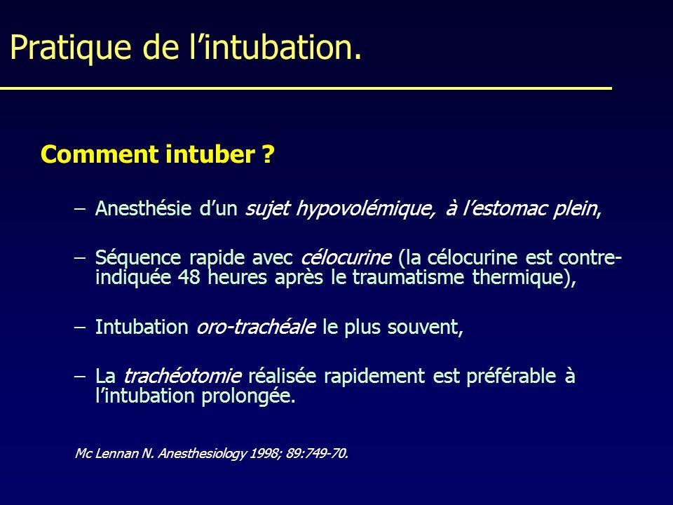 Pratique de l'intubation.