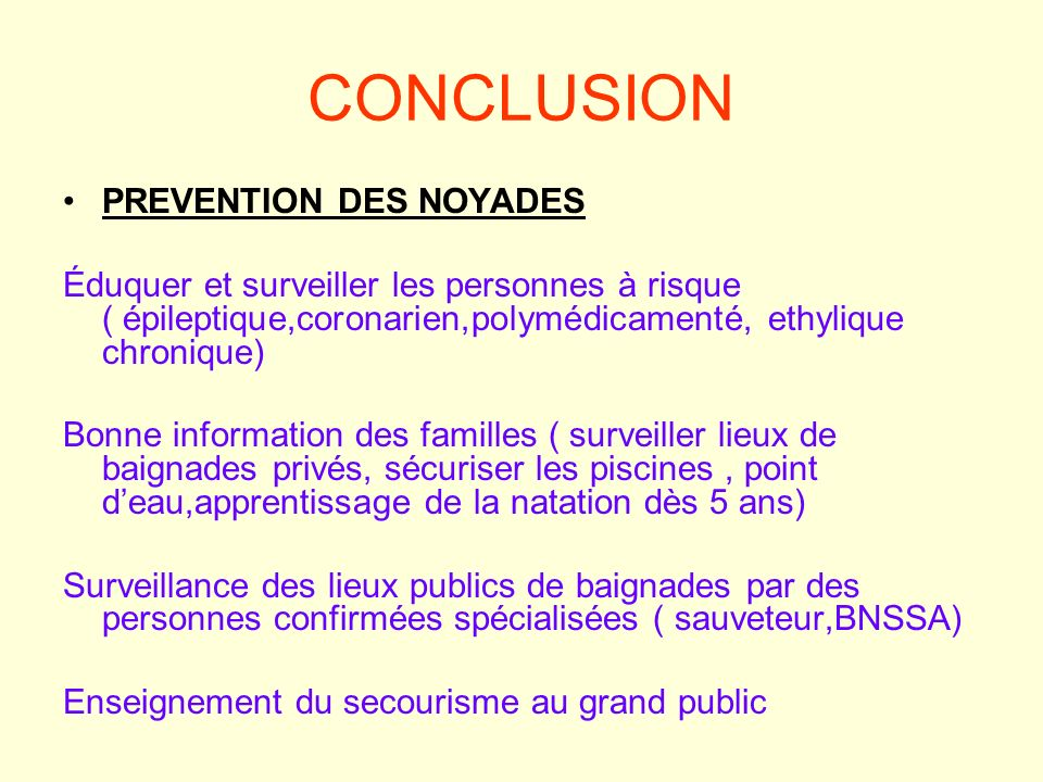CONCLUSION PREVENTION DES NOYADES