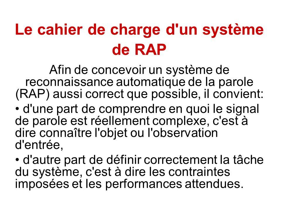 Le cahier de charge d un système de RAP