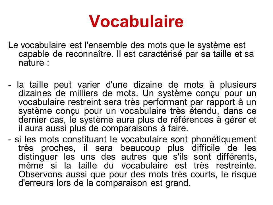 Vocabulaire Le vocabulaire est l ensemble des mots que le système est capable de reconnaître. Il est caractérisé par sa taille et sa nature :