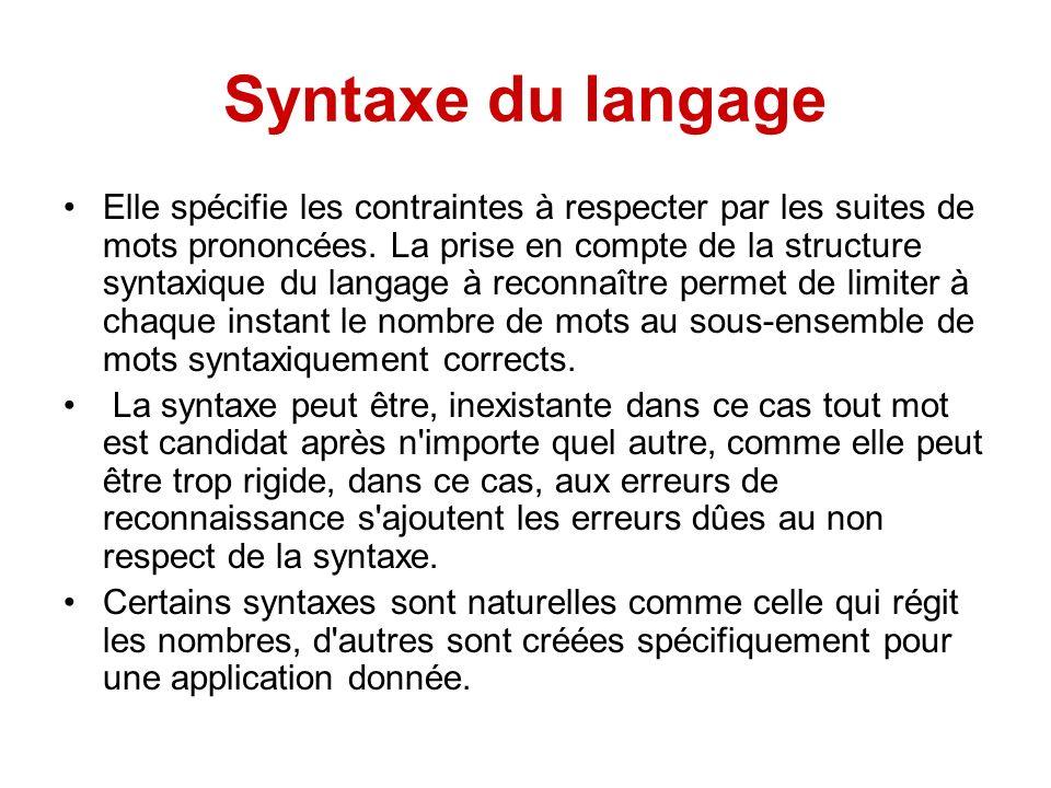 Syntaxe du langage