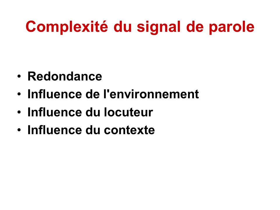Complexité du signal de parole