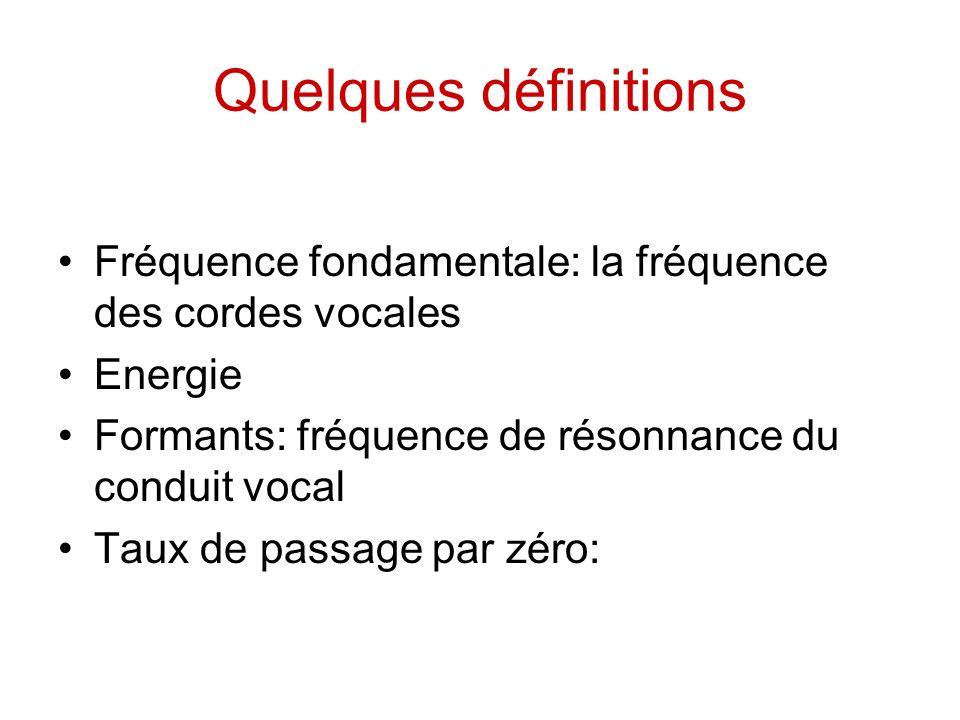 Quelques définitions Fréquence fondamentale: la fréquence des cordes vocales. Energie. Formants: fréquence de résonnance du conduit vocal.
