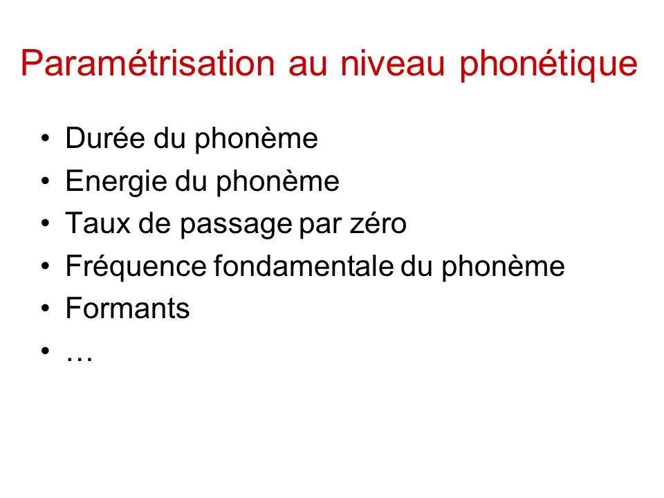 Paramétrisation au niveau phonétique
