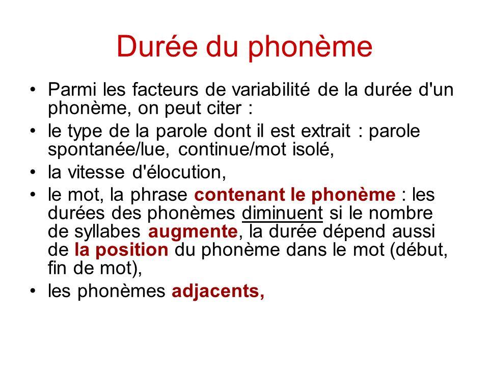 Durée du phonème Parmi les facteurs de variabilité de la durée d un phonème, on peut citer :