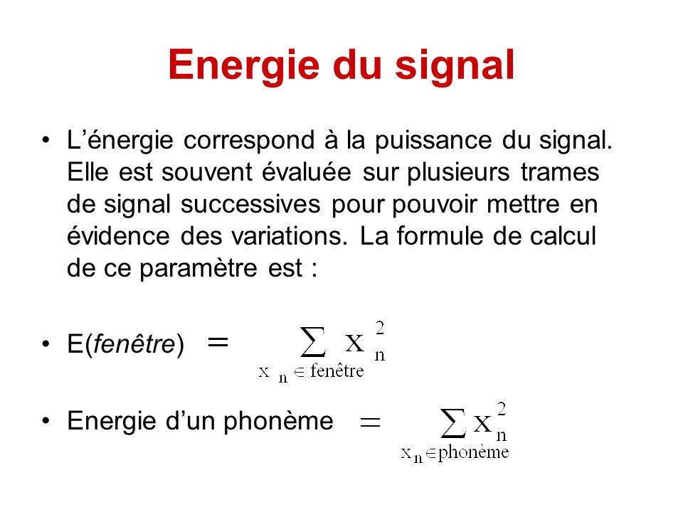 Energie du signal