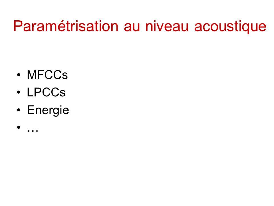 Paramétrisation au niveau acoustique