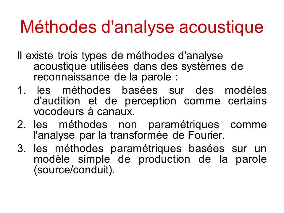 Méthodes d analyse acoustique