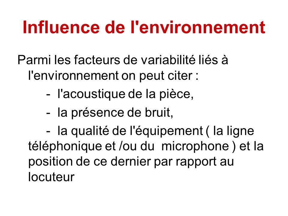 Influence de l environnement