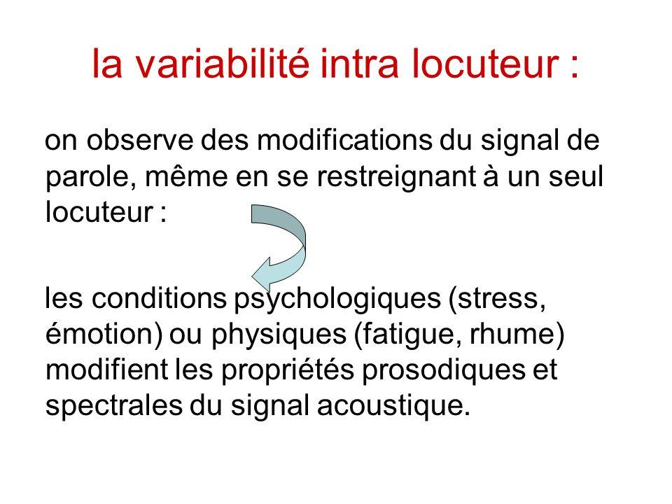 la variabilité intra locuteur :