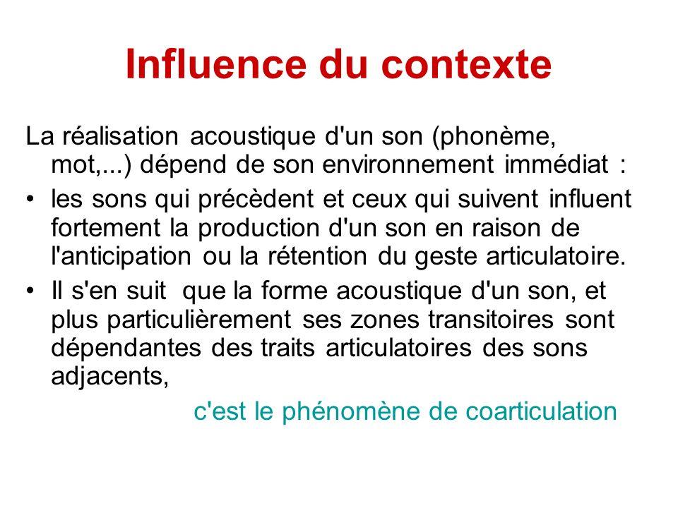 Influence du contexte La réalisation acoustique d un son (phonème, mot,...) dépend de son environnement immédiat :
