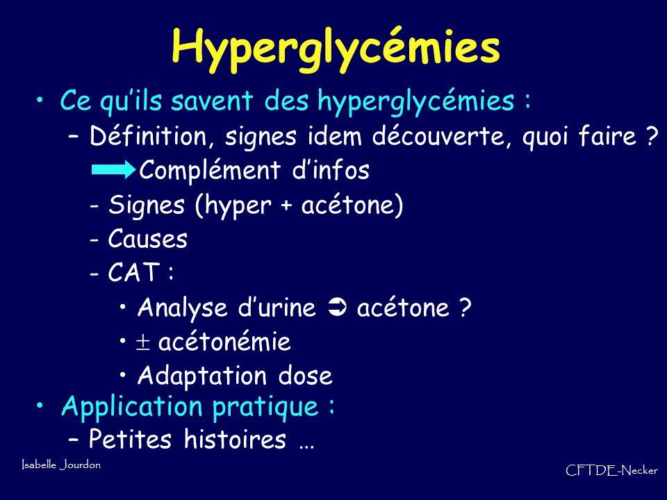 Hyperglycémies Ce qu'ils savent des hyperglycémies :