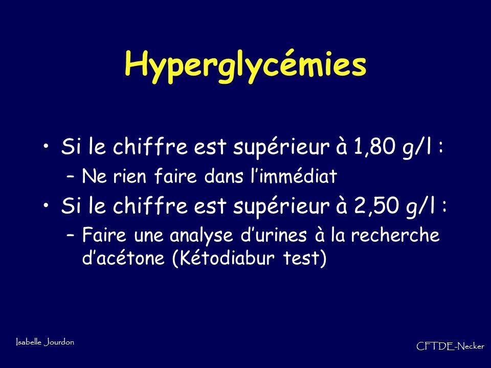 Hyperglycémies Si le chiffre est supérieur à 1,80 g/l :