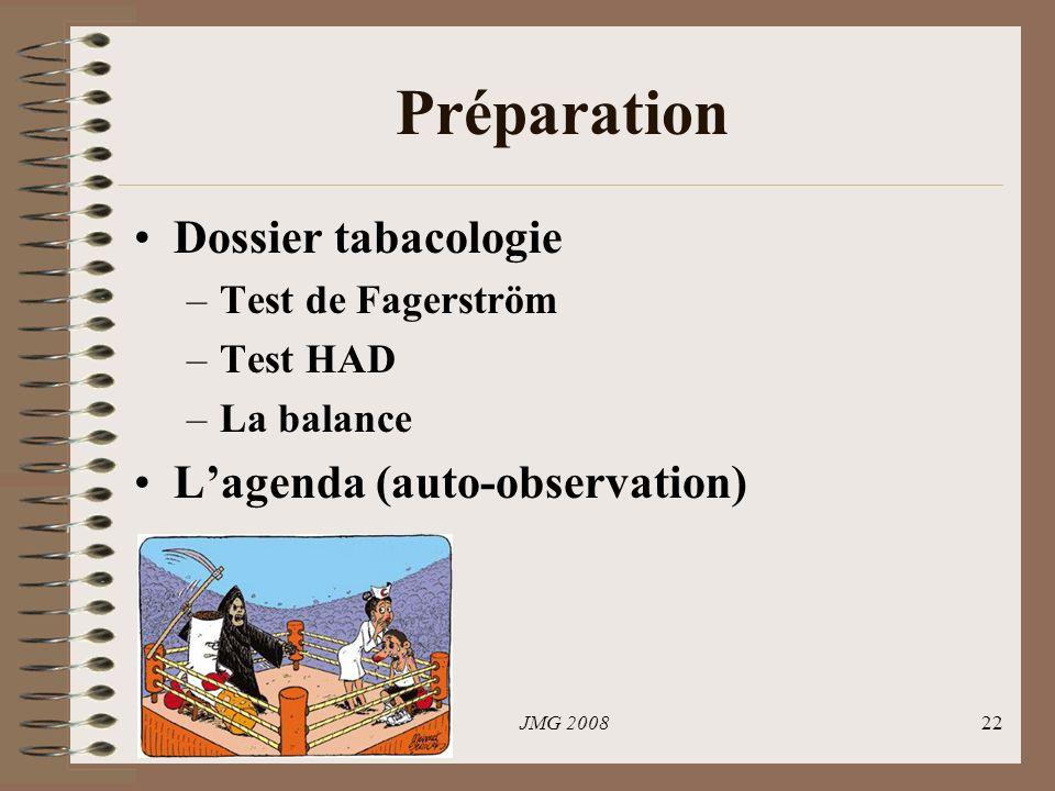 Préparation Dossier tabacologie L'agenda (auto-observation)