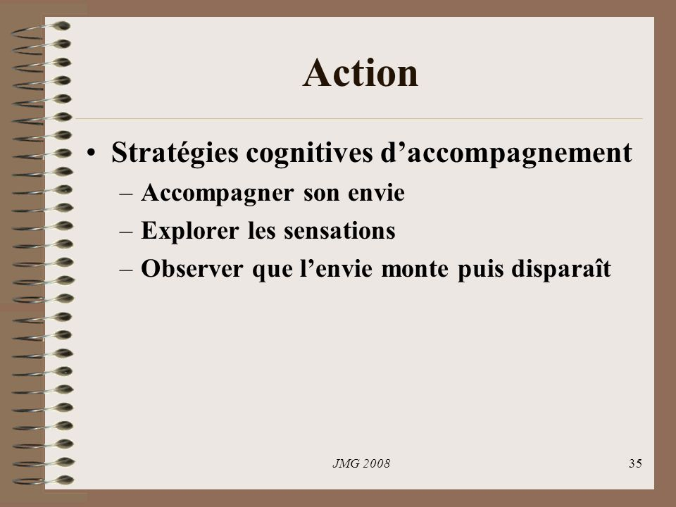 Action Stratégies cognitives d'accompagnement Accompagner son envie