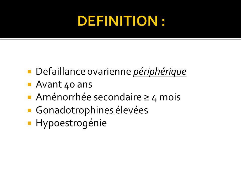 DEFINITION : Defaillance ovarienne périphérique Avant 40 ans