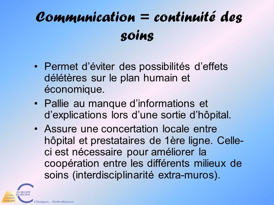 Communication = continuité des soins