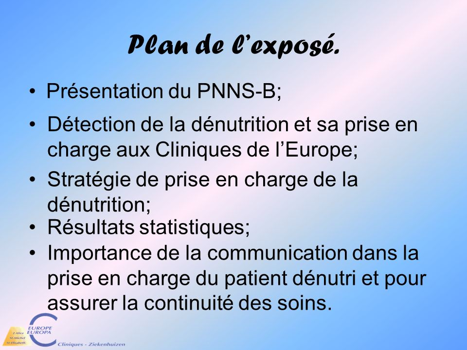 Plan de l'exposé. Présentation du PNNS-B;