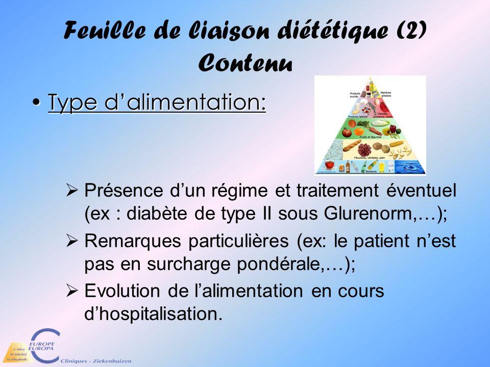 Feuille de liaison diététique (2) Contenu