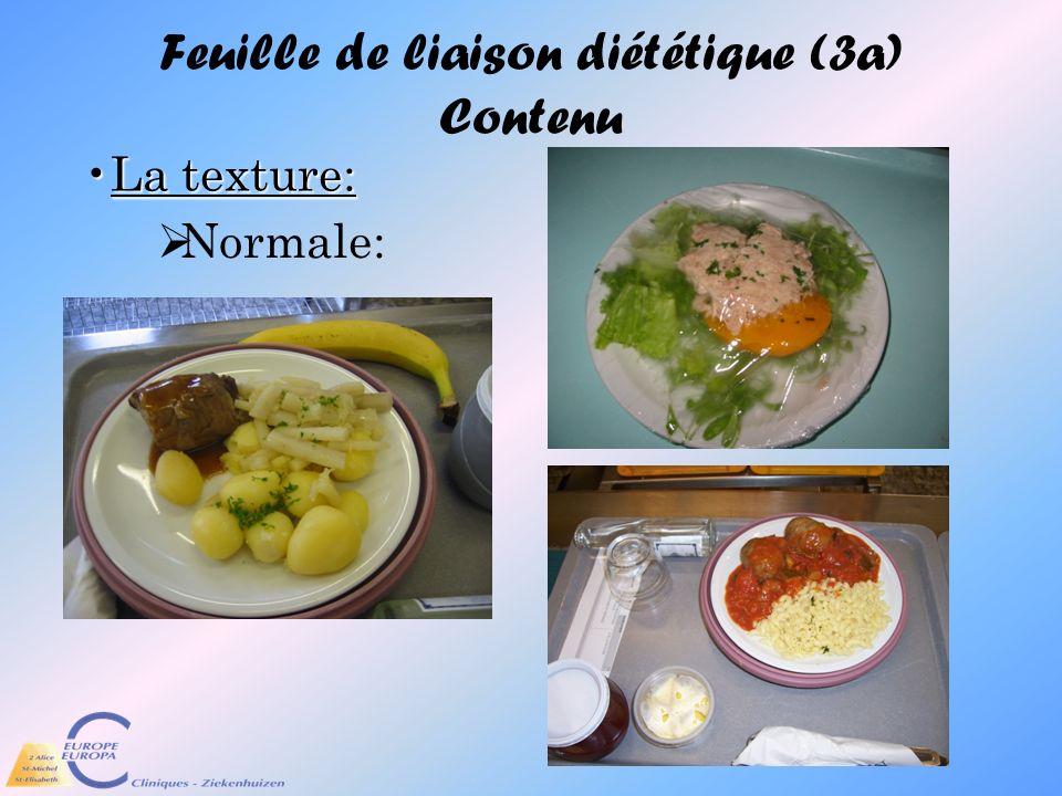 Feuille de liaison diététique (3a) Contenu
