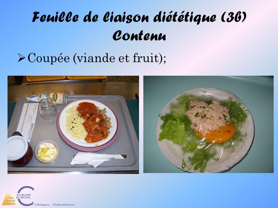 Feuille de liaison diététique (3b) Contenu