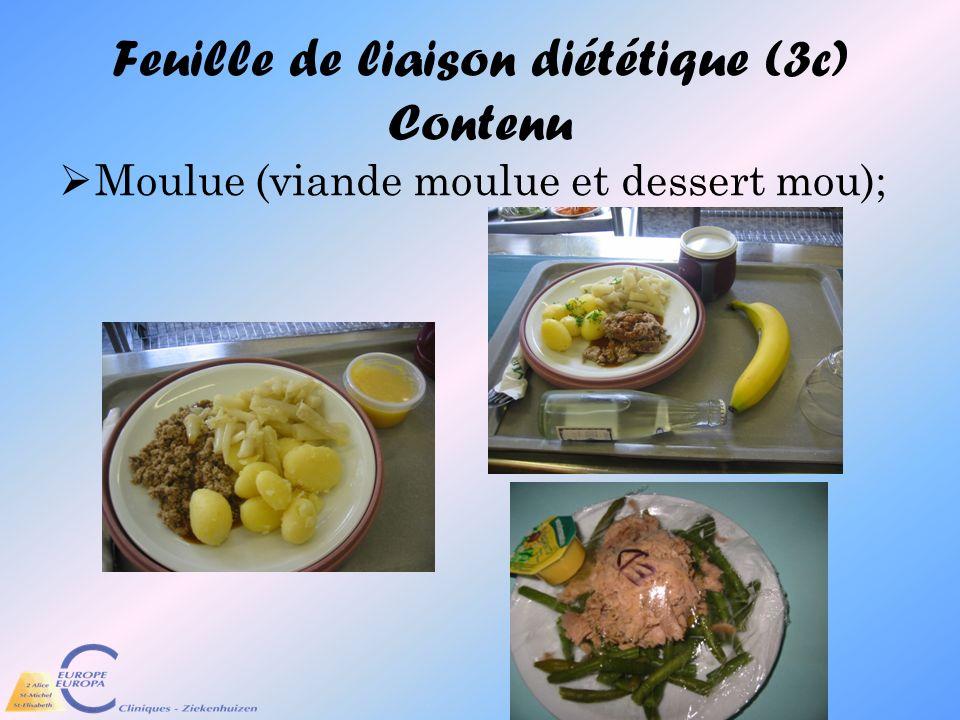 Feuille de liaison diététique (3c) Contenu