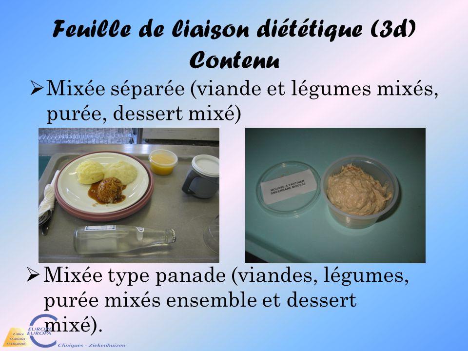Feuille de liaison diététique (3d) Contenu