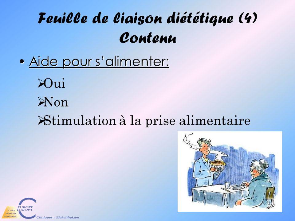Feuille de liaison diététique (4) Contenu