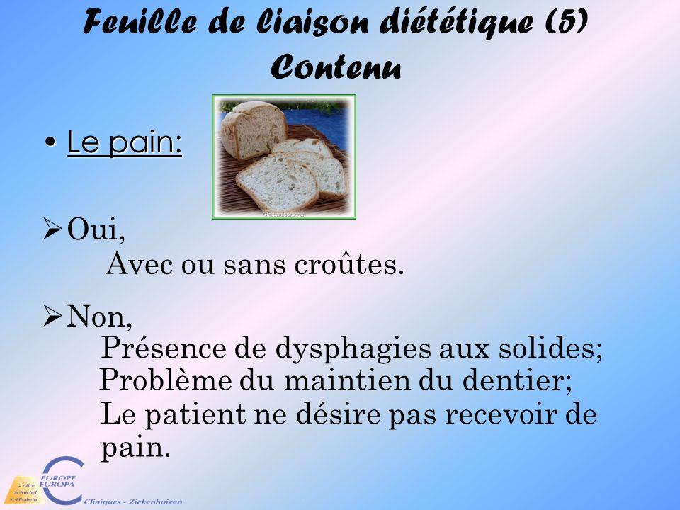 Feuille de liaison diététique (5) Contenu