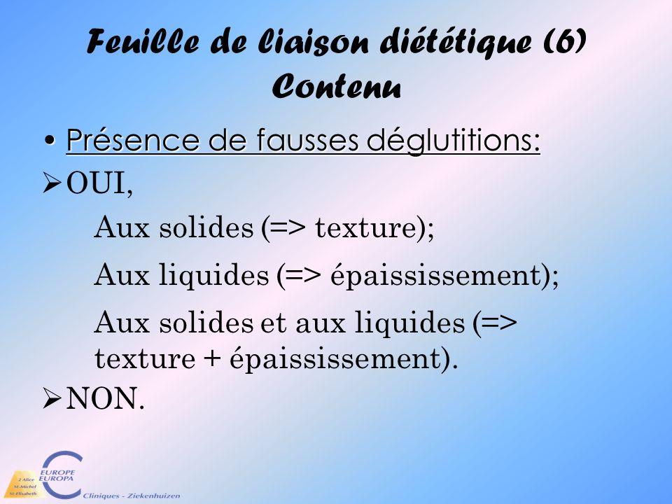 Feuille de liaison diététique (6) Contenu