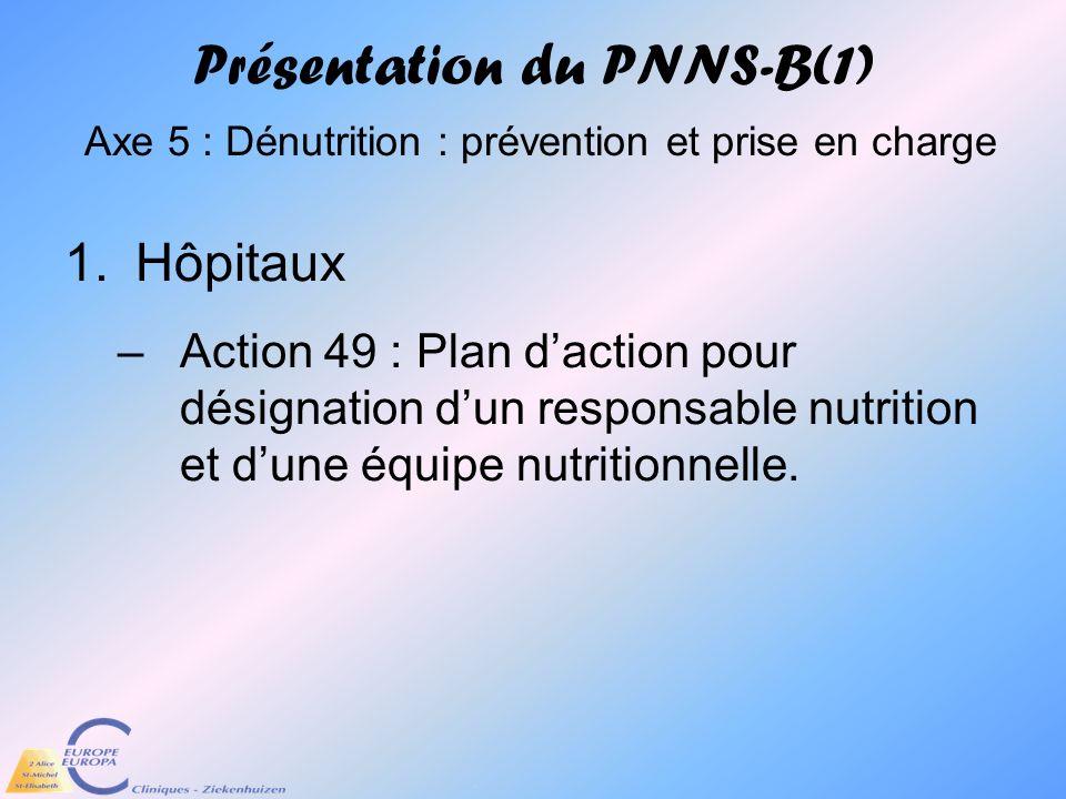 Présentation du PNNS-B(1) Axe 5 : Dénutrition : prévention et prise en charge