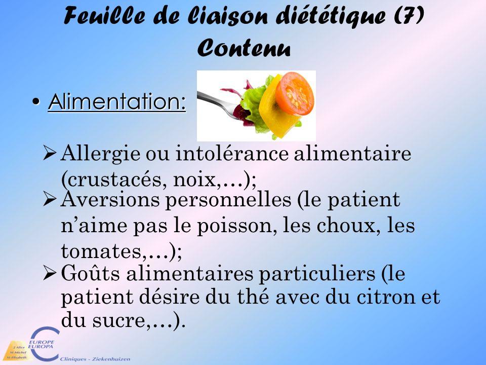 Feuille de liaison diététique (7) Contenu
