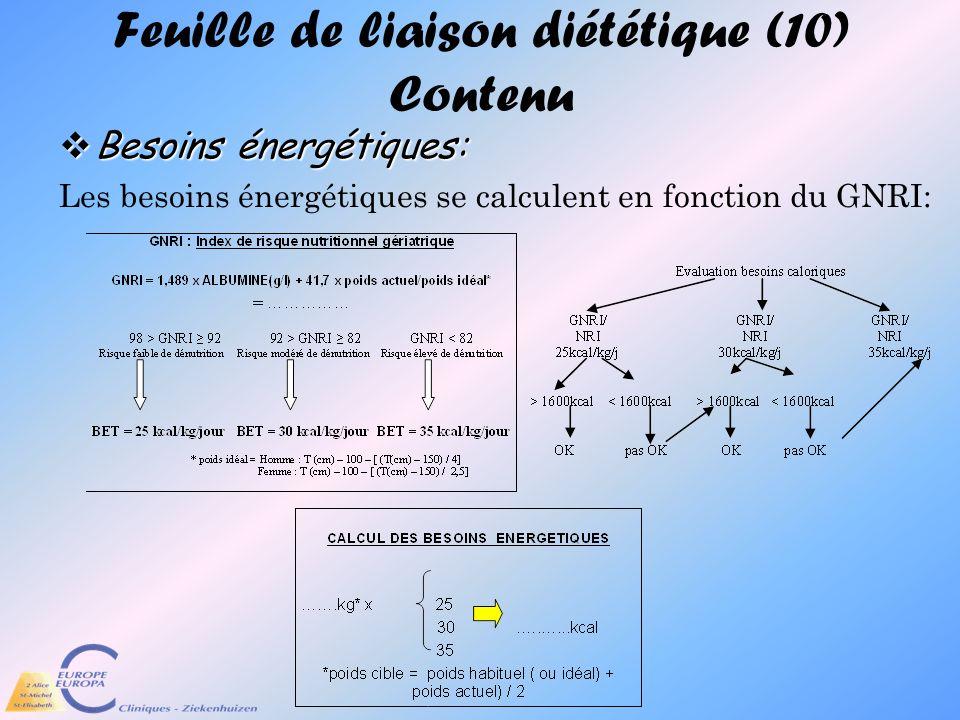 Feuille de liaison diététique (10) Contenu