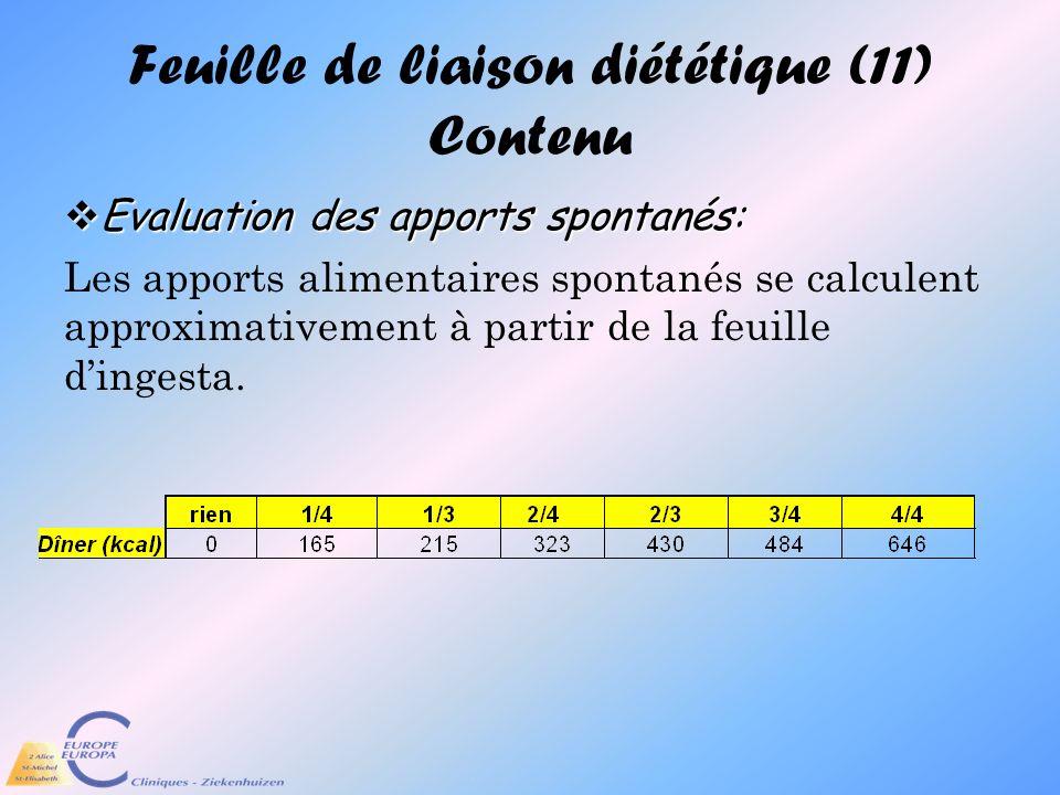 Feuille de liaison diététique (11) Contenu