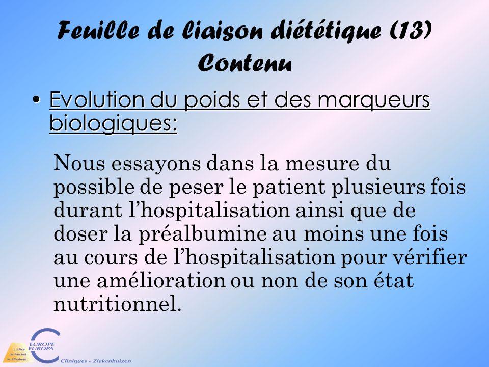 Feuille de liaison diététique (13) Contenu