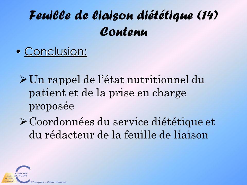 Feuille de liaison diététique (14) Contenu