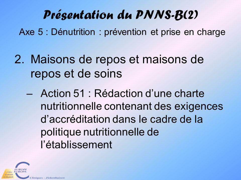 Présentation du PNNS-B(2) Axe 5 : Dénutrition : prévention et prise en charge
