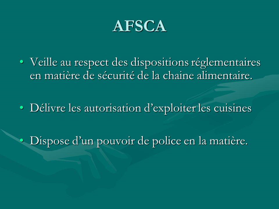 AFSCA Veille au respect des dispositions réglementaires en matière de sécurité de la chaine alimentaire.