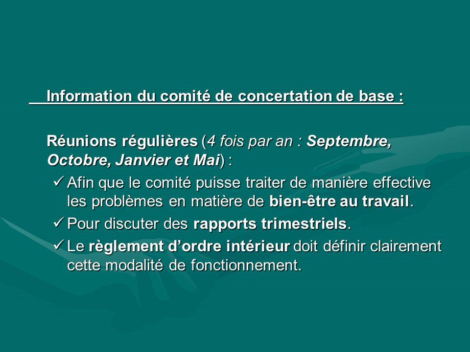 Information du comité de concertation de base :