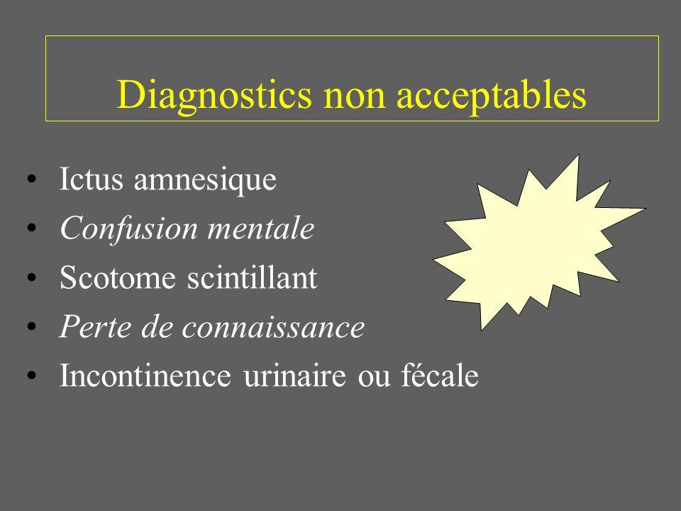 Diagnostics non acceptables