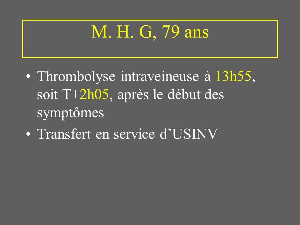 M. H. G, 79 ans Thrombolyse intraveineuse à 13h55, soit T+2h05, après le début des symptômes. Transfert en service d'USINV.