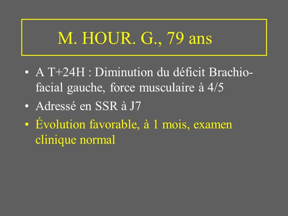 M. HOUR. G., 79 ans A T+24H : Diminution du déficit Brachio-facial gauche, force musculaire à 4/5. Adressé en SSR à J7.