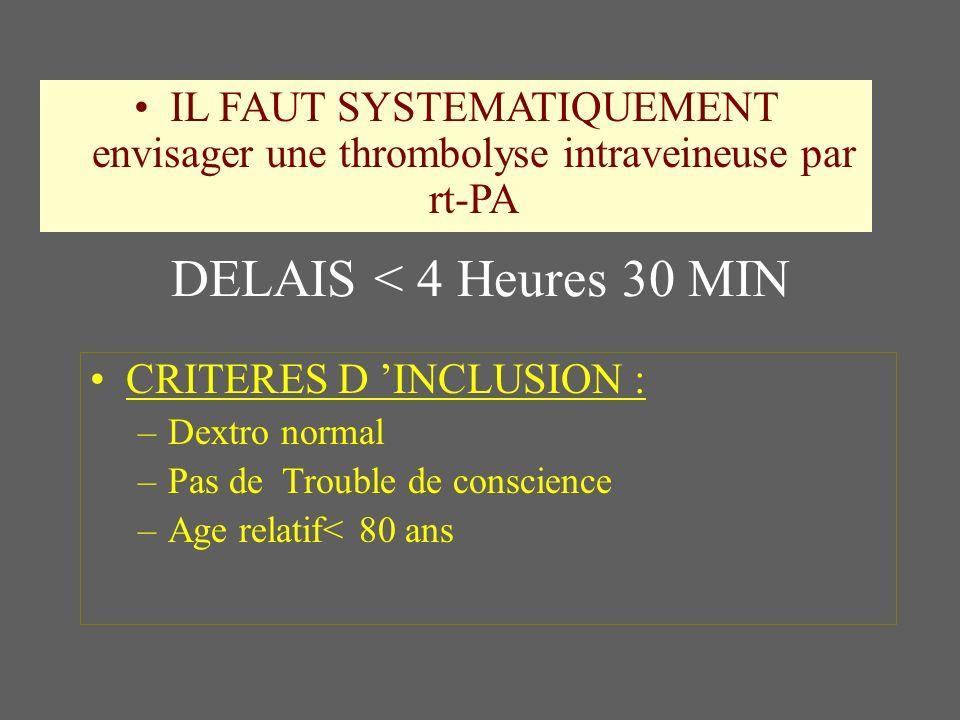 IL FAUT SYSTEMATIQUEMENT envisager une thrombolyse intraveineuse par rt-PA