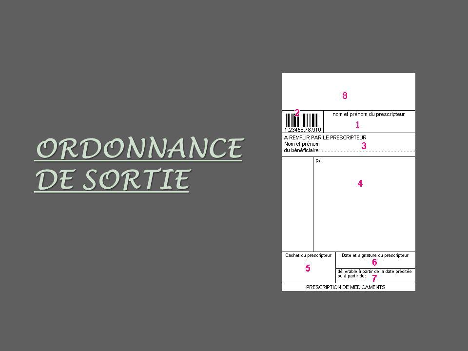 ORDONNANCE DE SORTIE