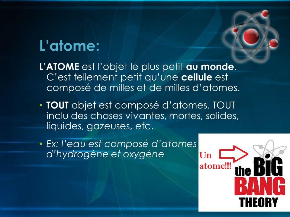 L'atome: L'ATOME est l'objet le plus petit au monde. C'est tellement petit qu'une cellule est composé de milles et de milles d'atomes.