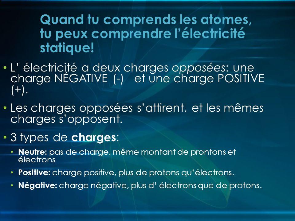 Quand tu comprends les atomes, tu peux comprendre l'électricité statique!