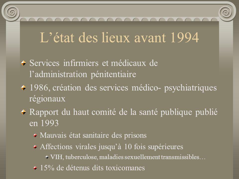 L'état des lieux avant 1994 Services infirmiers et médicaux de l'administration pénitentiaire.