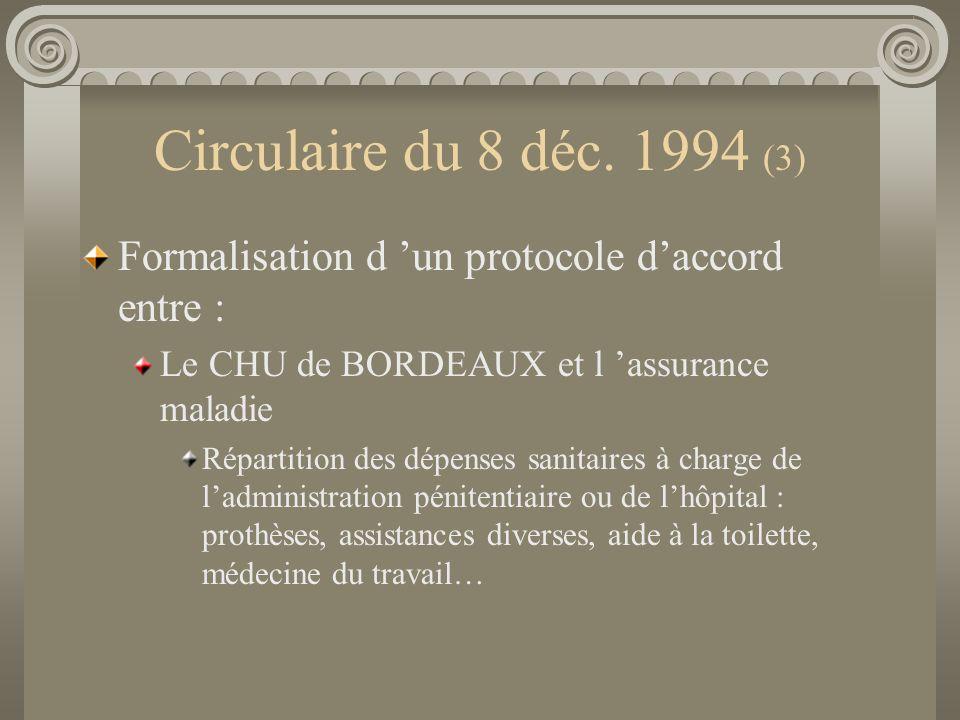 Circulaire du 8 déc. 1994 (3) Formalisation d 'un protocole d'accord entre : Le CHU de BORDEAUX et l 'assurance maladie.