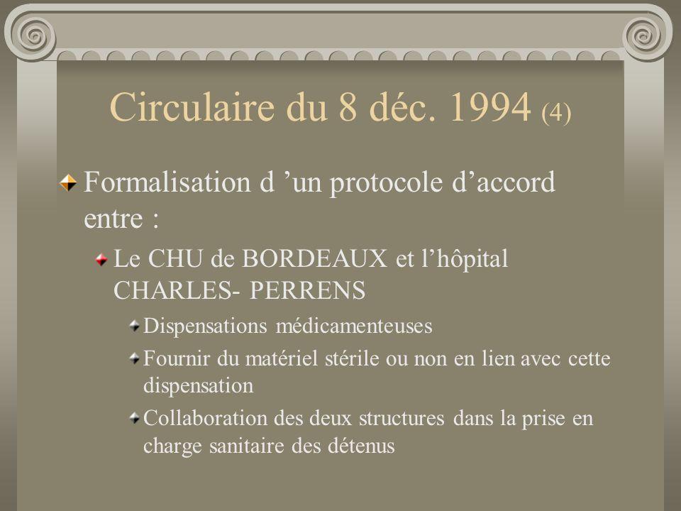 Circulaire du 8 déc. 1994 (4) Formalisation d 'un protocole d'accord entre : Le CHU de BORDEAUX et l'hôpital CHARLES- PERRENS.