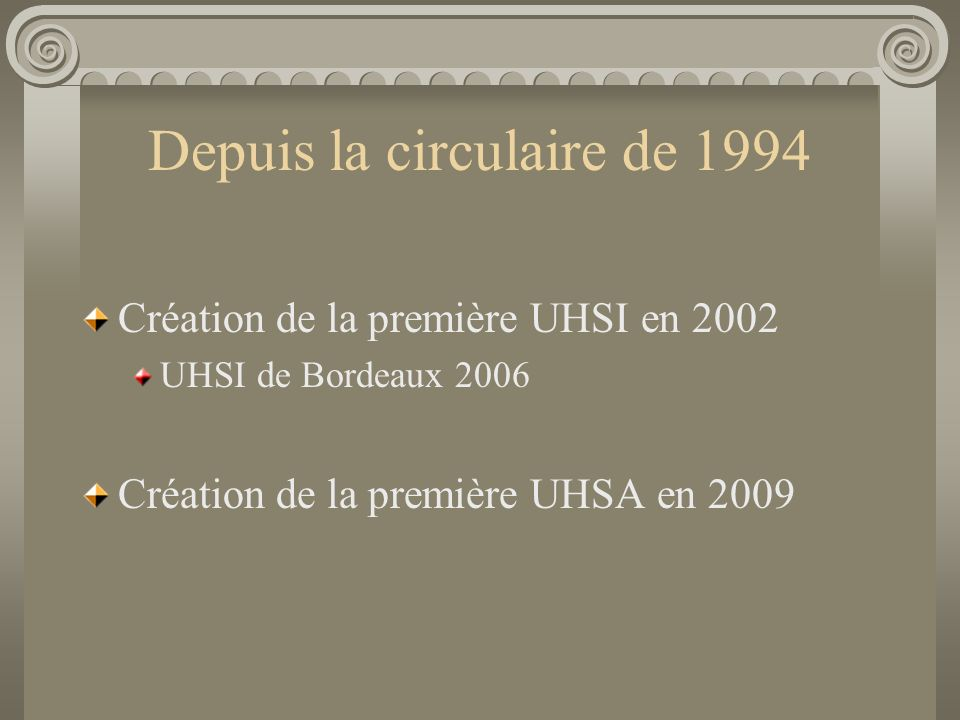 Depuis la circulaire de 1994